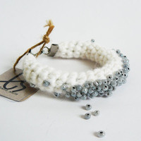 Fiber Beaded Bangle, Crochet Women Bracelet In White
