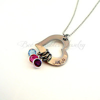 Hand Stamped Heart Washer Birthstone Personalized Necklace - Mothers Necklace- Mothers Jewelry