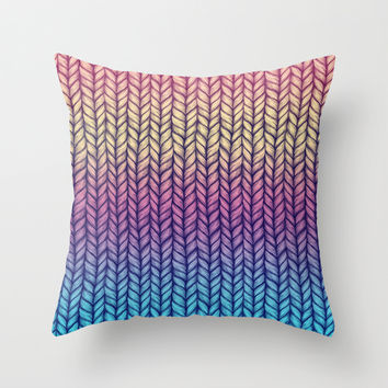 Rainbow Gradient Chunky Knit Pattern Throw Pillow by Micklyn