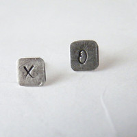 Personalized Studs Letter Studs Sterling Silver Earrings Hand Stamped Jewelry by SteamyLab