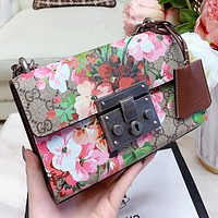 GUCCI New fashion more letter floral print shoulder bag crossbody bag women
