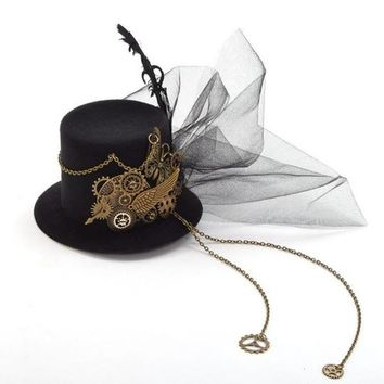Steampunk Mini Top Hat Hair Clip