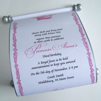 Royal princess birthday invitation scroll