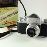 Zenit S Vintage Russian Rangefinder Camera 35mm Film, Lens Industar-50,  Made in USSR, Boxed
