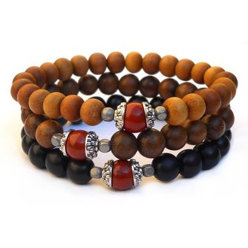 Protection - Set Of 3 Mala Bracelets Sandalwood, Ebony, Woods with Red Jasper Guru Beads