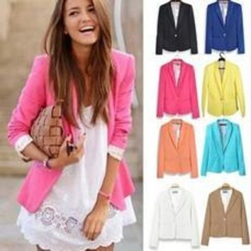 New fashion Women fashion Blazer Women  Candy Color Jackets Suit One Button Slim Yellow Ladies Blazers Work Wear Blaser [7897027015]
