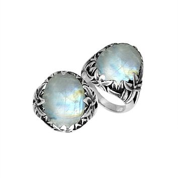 "AR-8030-RM-7"" Sterling Silver Ring With Rainbow Moonstone"