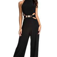 Black Cut Out Halter Neck Jumpsuit