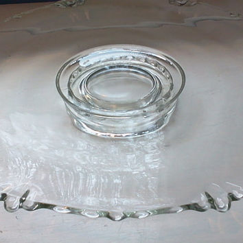 Sale, Vintage, Clear, Glass, Pedestal, Cake Stand, Pie Plate, Serving Platter