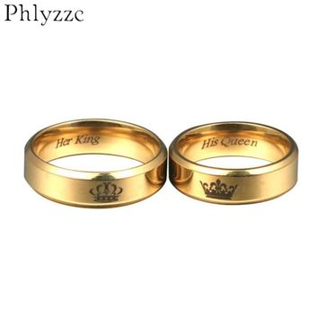 6mm wide Simple Gold Ring for Men His Queen Her King Fashion Womens Stainless Steel Dating jewelry For Couple wholesale R801