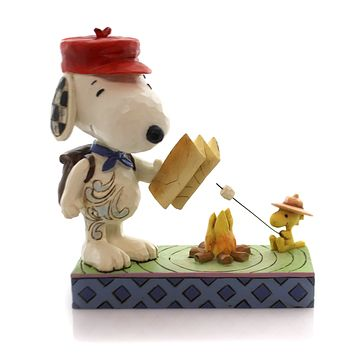 Jim Shore CAMPFIRE FRIENDS Polyresin Snoopy Woodstock Peanuts 4049414