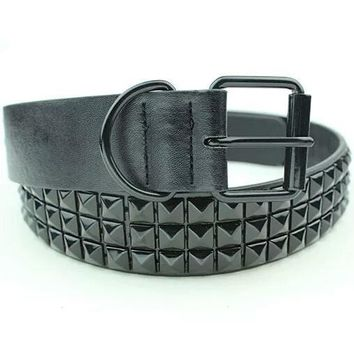 Rhinestone Rivet Studded Belt With Pin Buckle