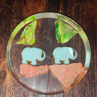 Elephants in the Forest Resin Coaster with Rock Pieces ~ Home Decor ~ Housewarming Gift