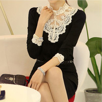 Black Long Sleeve Blouse with Lace Design