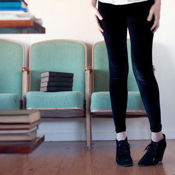 Black velvet leggings - stretch spandex velvet, soft grunge style minimal fashion - small