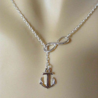 Lariat Infinity Anchor Necklace-simple necklace, gifts for sister, small nautical lariat necklace, christmas gifts, gold anchor infinity