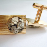 Pyrite Cufflinks // Raw Stone Men Jewelry // Gift For Him