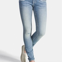 Vigoss Light Wash Jegging With Frayed Pockets - Light Sandblast