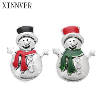 10Pcs/lot Snap Button Jewelry Christmas Snowman Metal Snap Button For Charms Bracelet Fit DIY 18mm Snap Jewelry For Women