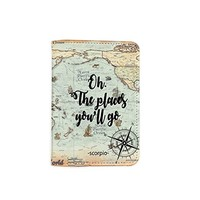 Oh The Places You'll Go World Map [Name Customized] Leather Passport Holder - Leather Passport Cover - Travel Accessory- Travel Wallet for Women and Men_SCORPIOshop