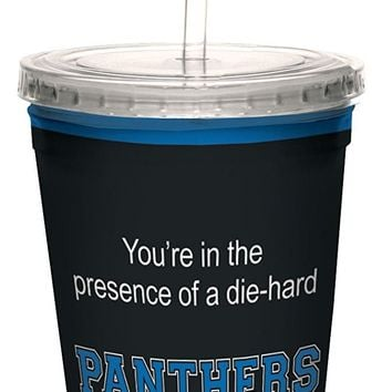 Tree-Free Greetings cc34696 Panthers College Basketball Artful Traveler Double-Walled Cool Cup with Reusable Straw, 16-Ounce