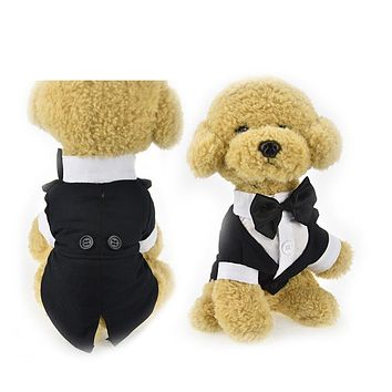 British style pet dog Wedding Tuxedo clothes Suit with bow tie Gentleman garment Formal Party dog jacket coat Cothes Costume