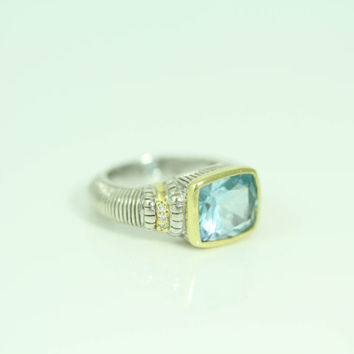 Sale - Blue Topaz and Diamond Judith Ripka Estate Ring - 18kt Gold and Sterling Silver