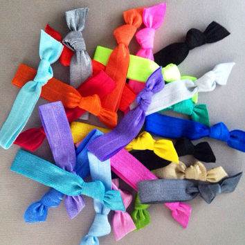 20 Solid Colored Hair Ties Ponytail Holders Collection