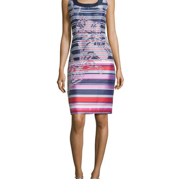 Sleeveless Scalloped-Neck Striped Dress, Multi Colors, Size: