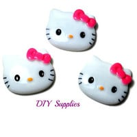 3 kitty with pink bow resin flat back - acrylic flatback - flower centers - hair bow centers - cabochons - scrapbooking - hair bow supplies