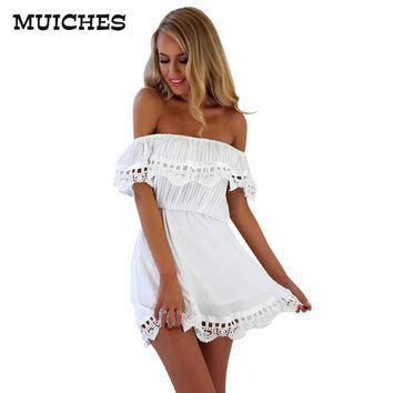 Elegant Vintage sweet lace white Dress