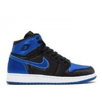 Tagre™ Beauty Ticks Nike Air Jordan 1 Retro Hi Og Bg Ep Gs Royal Satin Black Varsity Basketball Sport Shoes
