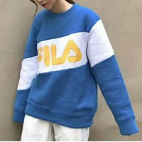 FILA tide brand casual fashion sweater sweater F-HYLFZC  Lake blue