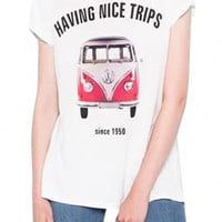 White Having Nice Trips Graphic Tee