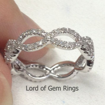 Ready to Ship - Pave Diamond Wedding Band Eternity Anniversary Ring 14K White Gold Floral