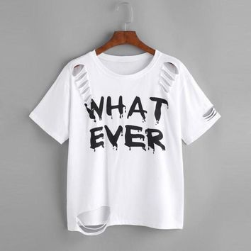 WHAT EVER Printed Distressed T-shirt