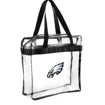 Philadelphia Eagles Clear Plastic Zipper Tote Bag NFL 2017 Stadium Approved
