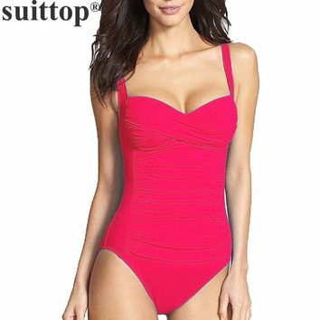 suittop Swimwear One Piece Swimsuit for Women 2017 Summer Beachwear Push Up Bathing Suits Retro Swim Wear Monokini Plus Size