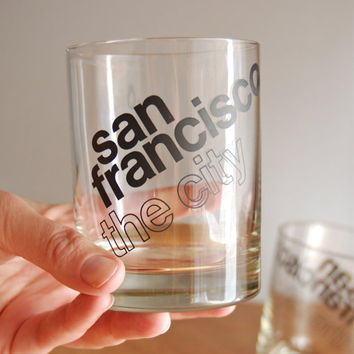 Vintage San Francisco Double Old Fashioned Glasses - Typography