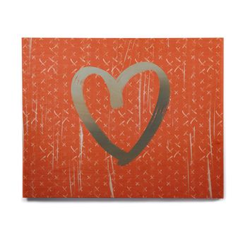 "Pellerina Design ""Cross Love"" Red Gray Love Modern Digital Painting Birchwood Wall Art"