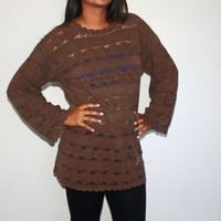 Brown Oversized see-through knitted sweater