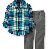 Carter's Newborn-24 Months Plaid-Flannel-Shirt & Pant Set - Blue/Multi