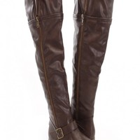 Brown Faux Leather Zippered Knee High Boots