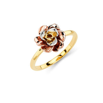14K Tricolor Rose Ring, Rose Ring, Gold Ring, Rose Jewelry, Gold Jewelry, Floral Ring, Floral Jewlery, Flower Ring, Flower Jewelry, Rose