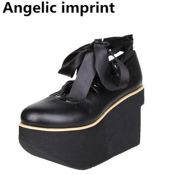 Angelic imprint woman mori girl lolita cosplay punk shoes lady high heels pumps wedges women princess dress party platform shoes