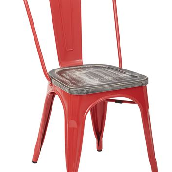 Office Star Red/Crazy Horse Bristow Metal Chair with Vintage Wood Seat (Set of 2)