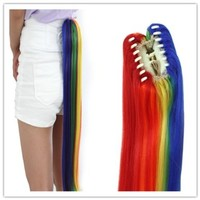L-email Womens Long Straight Cosplay Ponytail Rainbow