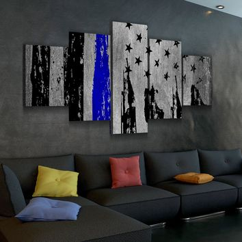 Distressed Thin Blue Line Canvas Set