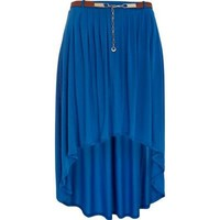 blue high hem front midi skirt - midi skirts - skirts - women - River Island