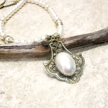 Renaissance style faux pearl necklace, creamy pearl, antiqued bronze chain and findings